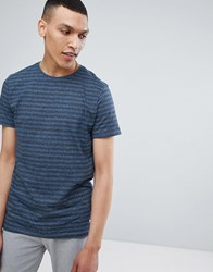 Lindbergh Striped Mouline T Shirt In Blue Mix Navy