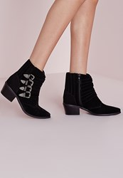 Missguided Western Buckle Ankle Boots Black Black