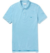 Lacoste Slim Fit Melange Cotton Pique Polo Shirt Light Blue