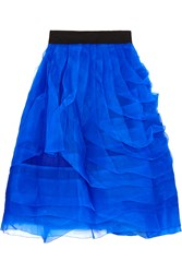 Noir Sachin And Babi Ingrid Tiered Silk Chiffon Skirt Blue