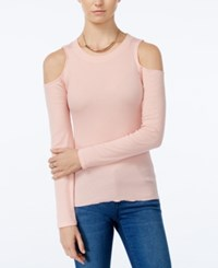 Planet Gold Juniors' Rib Knit Cold Shoulder Top Teardrop Pink