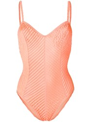 Jean Louis Scherrer Vintage Pleated Effect Swimsuit Orange