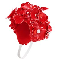 Miu Miu Embellished Floral Hat Red