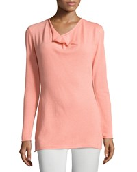 Lafayette 148 New York Cashmere Long Sleeve Cowl Neck Sweater Fleur