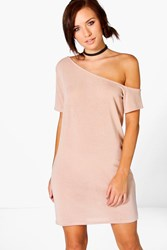 Boohoo Knitted Off The Shoulder Slouchy Dress Stone
