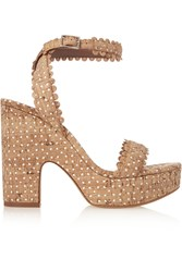 Tabitha Simmons Harlow Perforated Cork And Leather Sandals