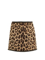 N 21 Leopard Print Wool Blend Mini Skirt