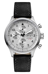 Ingersoll Watches Men's Bateman Automatic Multifunction Leather Strap Watch 45Mm Black Silver