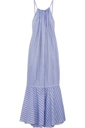 Three Graces London Cassius Striped Cotton Maxi Dress Blue