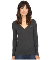 Lacoste Long Sleeve Cotton Jersey V Neck Tee Shirt Scarab Black Chine Women's T Shirt Gray