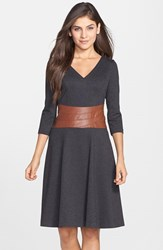 Women's Nue By Shani Faux Leather And Ponte Fit And Flare Dress Dark Heather Grey Luggage