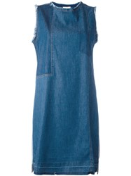 Semicouture Denim Sleeveless Dress Blue