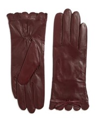 Kate Spade Scalloped Leather Gloves Tan