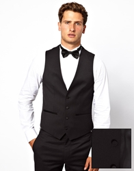 French Connection Slim Fit Tuxedo Vest Black