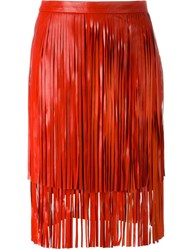 Drome Fringed Leather Skirt Red