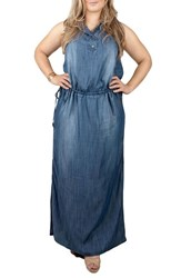 Standards And Practices Plus Size Women's Makayla Denim Drawstring Maxi Dress