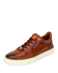 Bally Hens Logo Embossed Burnished Sneakers Brown