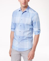 Alfani Men's Chambray Plaid Adjustable Sleeve Cotton Shirt Only At Macy's Rooftop Blue