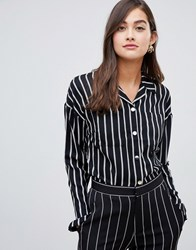 Amy Lynn Tie Front Stripped Top Black White No.7 Multi