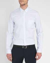 M.Studio Sky Blue Striped Max Oxford Slim Fit Shirt With Buttoned Collar