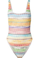 Missoni Mare Metallic Crochet Knit Cotton Blend Swimsuit Pink