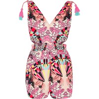 River Island Womens Pink Feather Print Tassel Cut Out Playsuit
