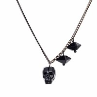 Nadia Minkoff Crystal Skull And Double Spike Necklace Jet Black