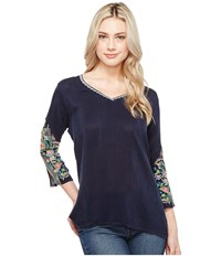 Johnny Was Nina Blouse Deep Dawn Women's Blouse Blue