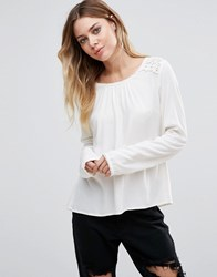 Vila Long Sleeve Blouse With Crochet Panel Pristine White