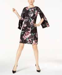 Jax Floral Print And Lace A Line Dress Black Multi