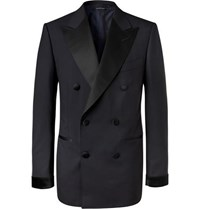 Tom Ford Midnight Blue Shelton Slim Fit Double Breasted Super 120S Wool Tuxedo Jacket Navy
