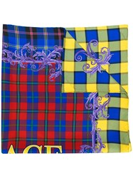 Versace Checked Logo Scarf Red