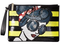 Alice Olivia Stace Face Large Zip Pouch With Wristlet Multi