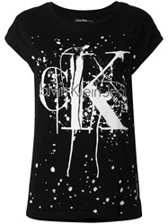 Calvin Klein Jeans Splattered Logo Print T Shirt Women Cotton Xs Black