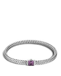 John Hardy Classic Chain Sterling Silver Lava Extra Small Bracelet With Amethyst Clasp Purple Silver