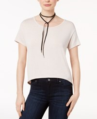 Bar Iii High Low Zip Back T Shirt Only At Macy's Beige