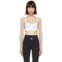 Adidas Originals White All Me 3 Stripes Sports Bra