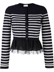Red Valentino Striped Ruffle Hem Cardigan Blue