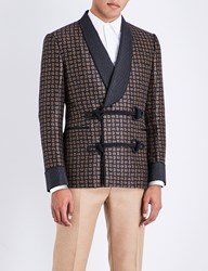 Alexander Mcqueen Paisley Patterned Wool Jacket Navy Beige Red