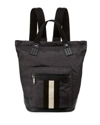 Bally Crowley Nylon Tote Backpack With Stripe Black