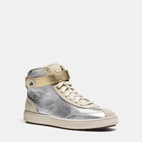 Coach C213 High Top Sneaker Silver Gold