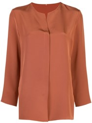 Peter Cohen Collarless Plain Shirt Brown