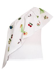 Rosie Assoulin One Shoulder Embroidered Cotton Top White