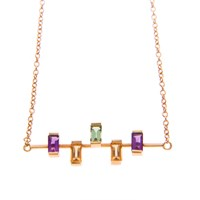 Nancy Rose Jewellery Five Stone Ingot Necklace Gold Pink Purple Yellow