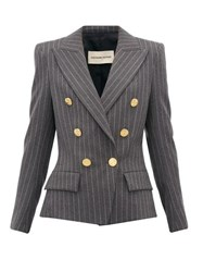 Alexandre Vauthier Double Breasted Pinstriped Wool Blend Blazer Grey Multi