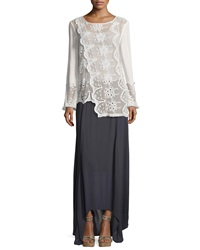 Xcvi Long Sleeve Embroidered Lace Asymmetric Top