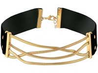 Steve Madden Straps Crisscross Snake Chain Choker Necklace Gold Necklace