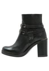 Bronx High Heeled Ankle Boots Black Gunmetal