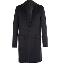 Loro Piana Suede Trimmed Double Faced Cashmere Rain System Coat Navy