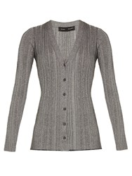 Proenza Schouler V Neck Ribbed Knit Lurex Cardigan Silver